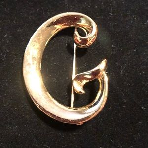 """Gold tone Letter """"G"""" brooch by Anne Klein"""